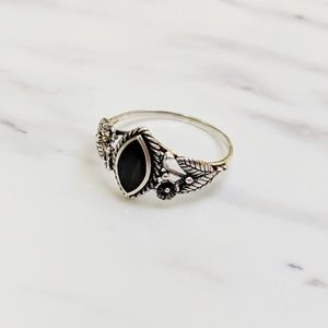 •Floral• Sterling Silver Oxidized Ring